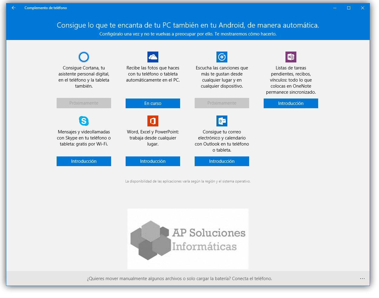 conectar smarthphone a Windows 10
