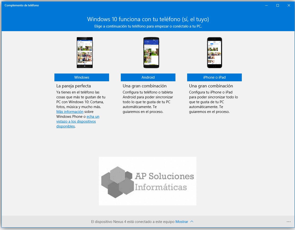 Como conectar un smartphone a Windows 10